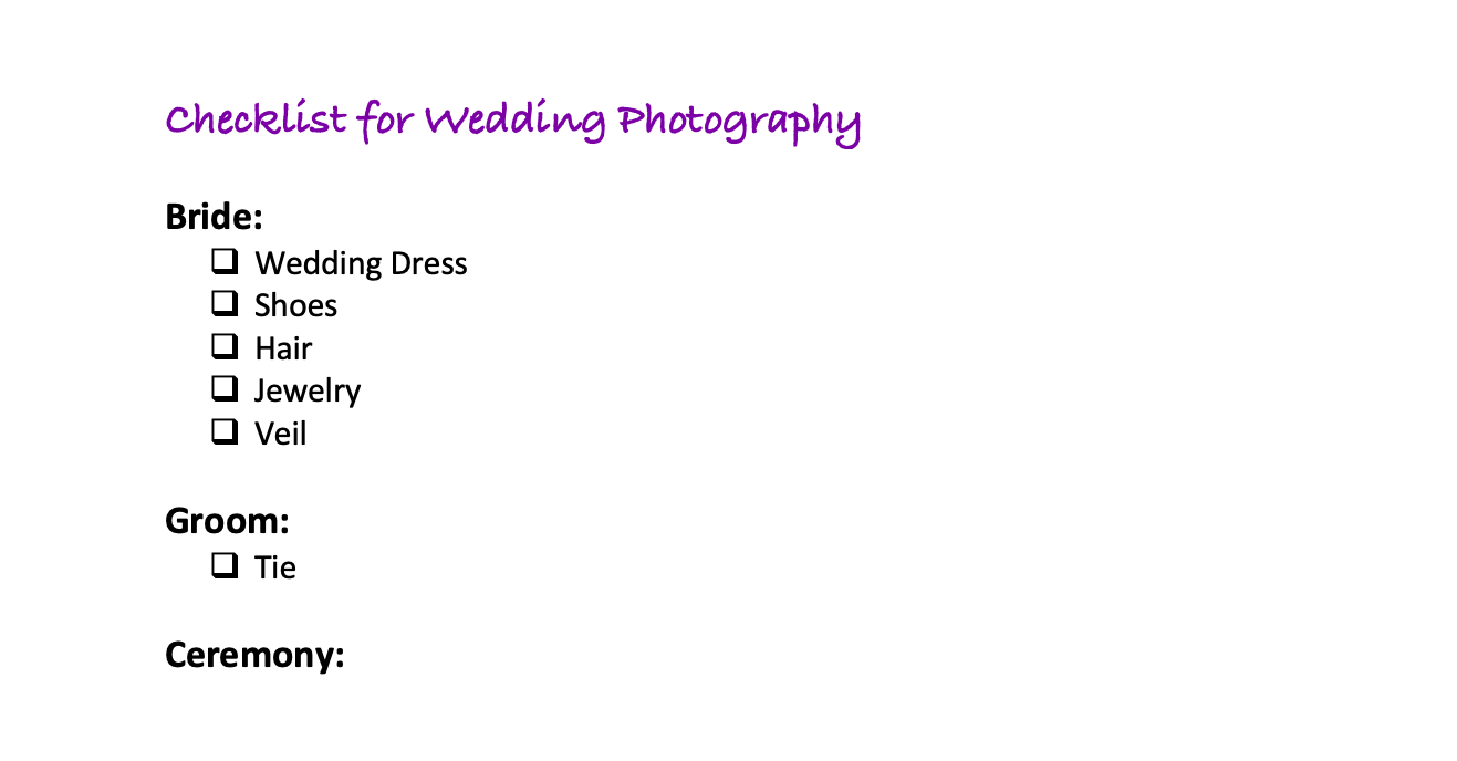 Preparations for Wedding Photographers