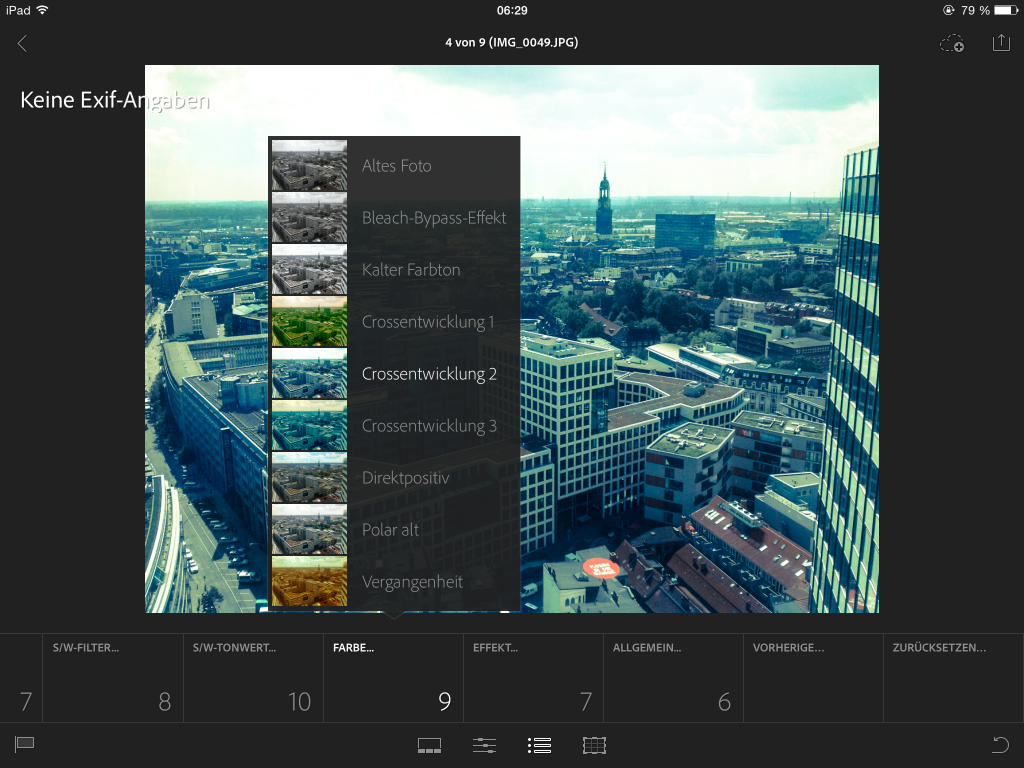 Lightroom mobile app