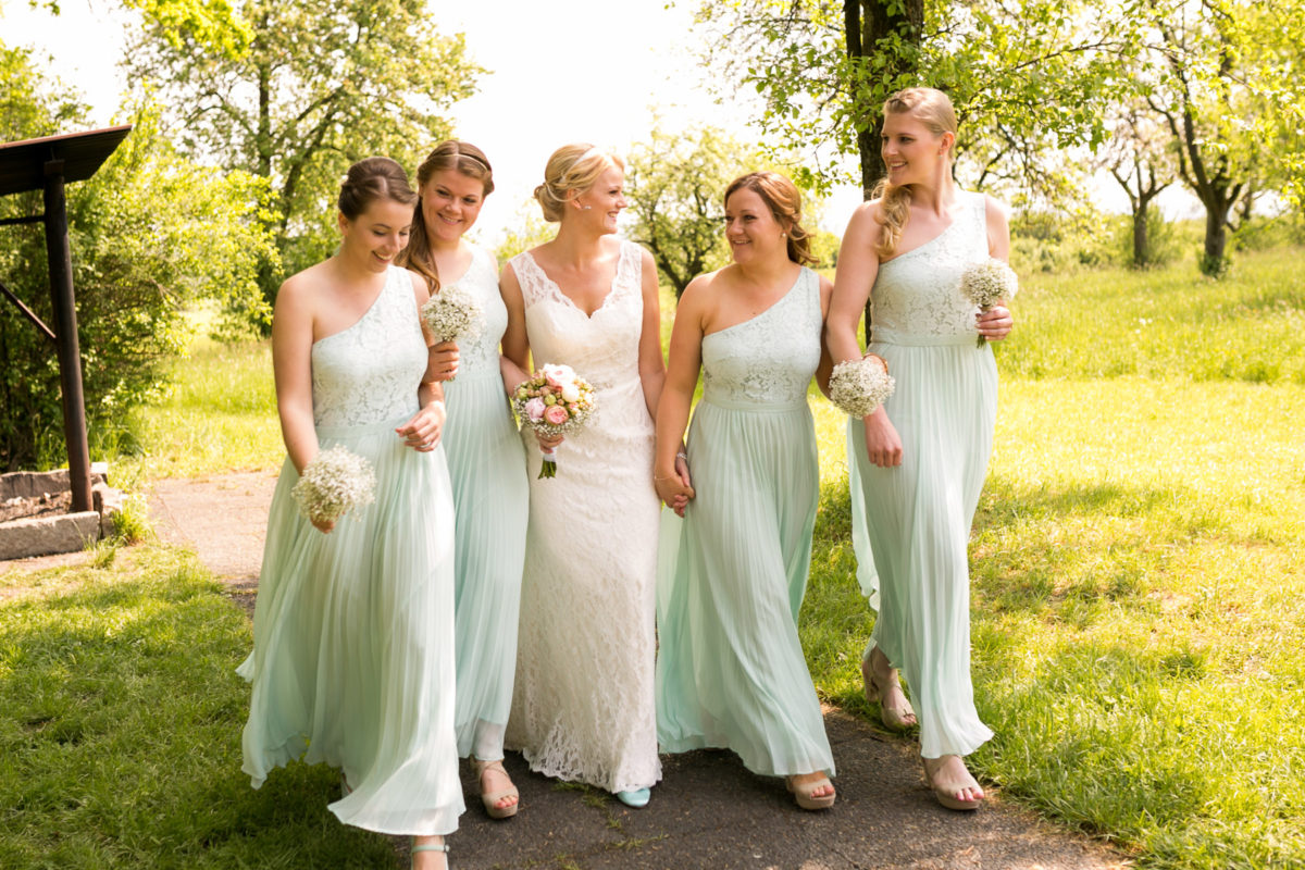 wedding, bride, brides maids